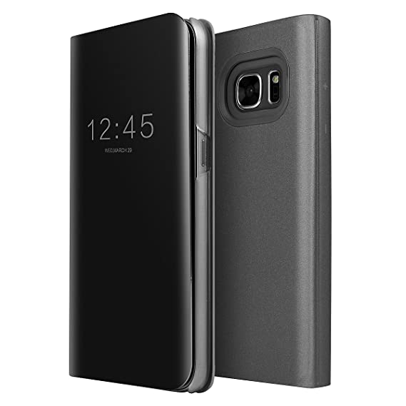 Galaxy S7 Case, AICase Luxury Translucent View Window Front Smart  Sleep/Wake Up Function Mirror Screen Flip Electroplate Plating Stand Full  Body