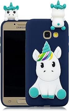 Coque Samsung Galaxy A3 2017 Silicone avec Motif 3D Licorne Bleu Housse pour Samsung A3 2017 / A320 Ultra Fine TPU Souple Étui Cute Mignon Slim Soft ...