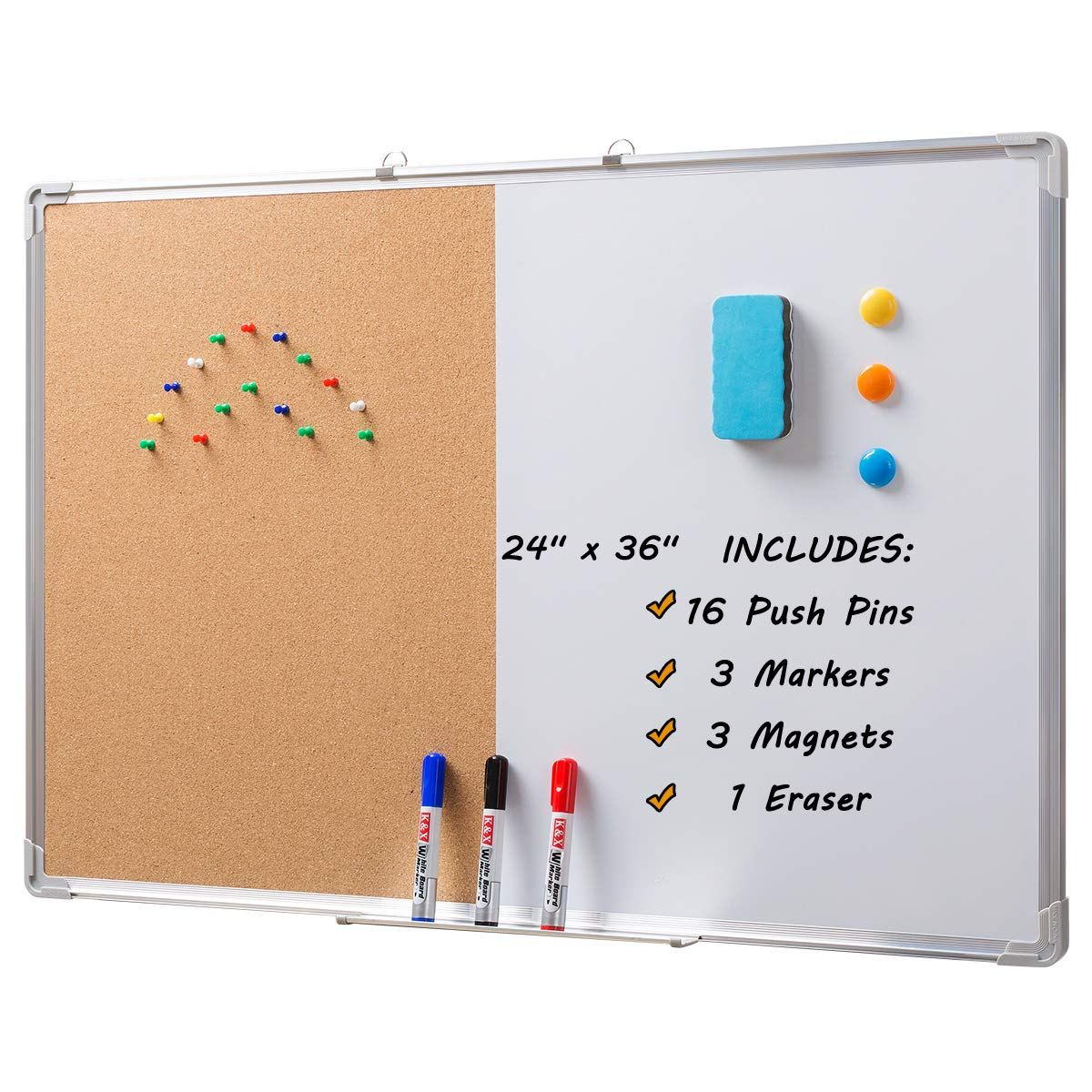 DOEWORKS 36 x 24 Magnetic Whiteboard & Cork Board Combo Board Set, Wall Mounted Notice Bulletin Board Dry Erase/Cork Board Combination with Aluminum Frame