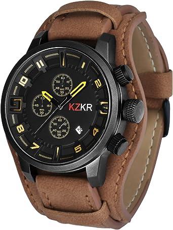 montre bracelet cuir marron homme