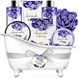 Bath and Body Gift Set - Body & Earth 8 Pcs Relaxing Gift Baskets for Women, Lavender & Honey Scent Spa Kit, Bubble Bath, Sho