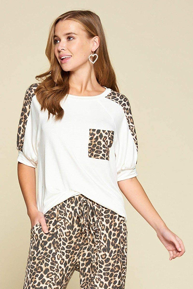 Shop /& Buy Plus Size Cute Animal Print Pocket French Terry Casual Top