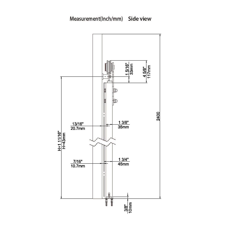 6.6ft Black Steel Sliding Barn Door Hardware Track Kit 2x3.3ft Rails,Anchor Hanger Roller