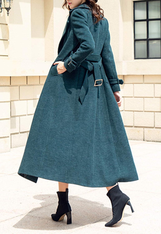PLAER Winter Womens Outdoor Windproof Warm Double-Breasted Long Wool Coat