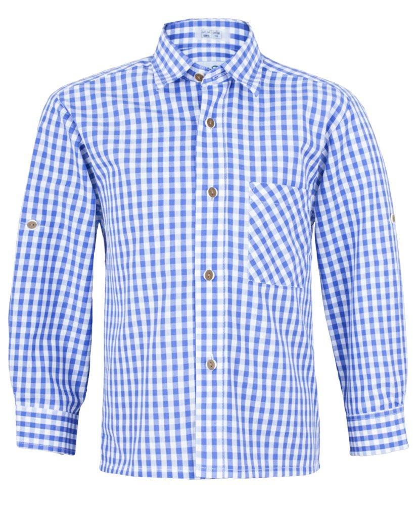 Isar-Trachten Kinder Trachtenhemd Moritz - Blau - Schönes Trachten Hemd für Kinder - Perfekt zur Lederhose für Buben