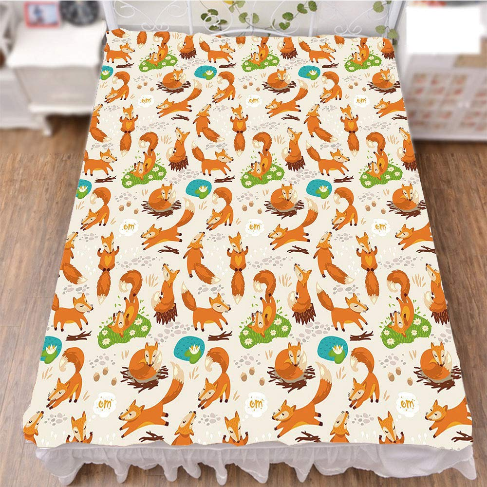 iPrint Bed Skirt Dust Ruffle Bed Wrap 3D Print,Meditation Cute Little Cartoon Animals Dotted,Fashion Personality Customization adds Color to Your Bedroom. by 70.9''x78.7''