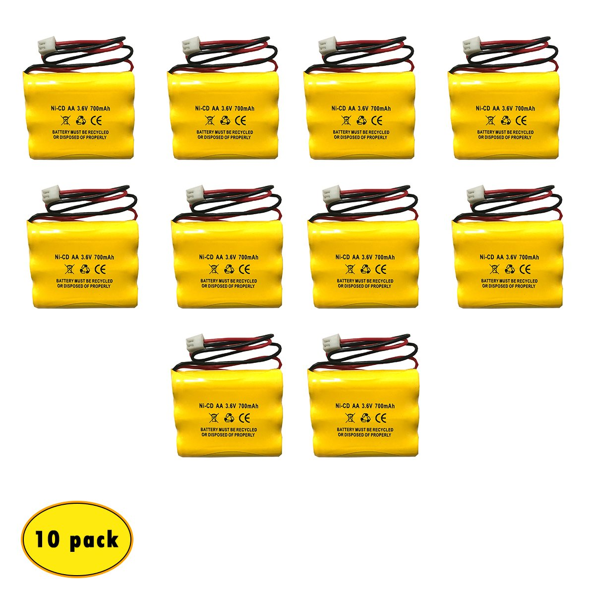 3.6V 700mAh 900mAh NiCad Exit Sign Battery Emergency Lighting (10 Pack) Lowes 253799 and Lowes OSA230 Unitech 6200RP Unitech AA900MAH Unitech LEDR-1 by Battery Hawk