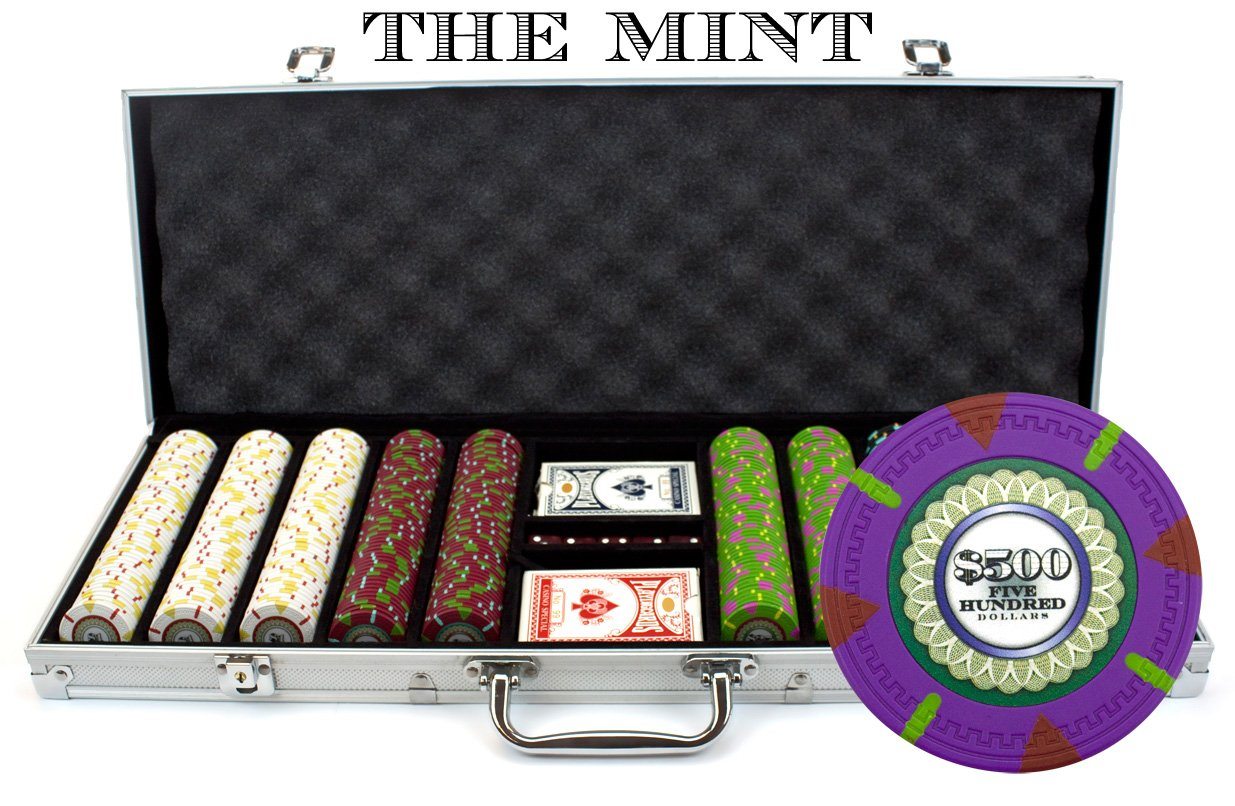 500 Count 'The Mint' Poker Chips in Aluminum Carrying Case, 13.5g Clay Composite Chips – Deluxe Set w/ 2 Playing Card Decks, Dealer Button, & 5 Dice by Claysmith Gaming