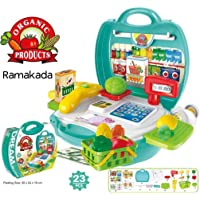 Ramakada Supermarket Play Set Suitcase Toy with Scanner and Calculator, Currency Note, Cards, Groceries, Multi color