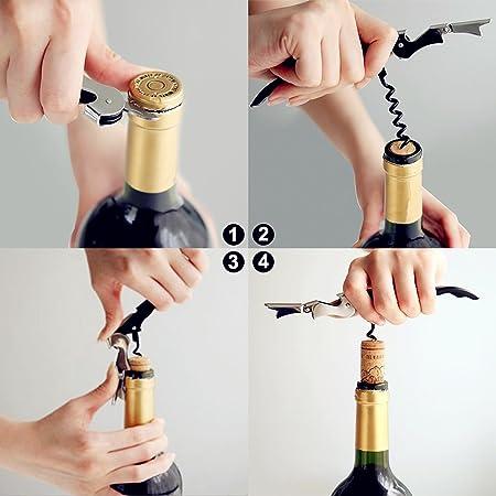 Abridor de botellas, msure acero inoxidable sacacorchos y abridor de vino cerveza abridor de tapón de la botella, 2-pack