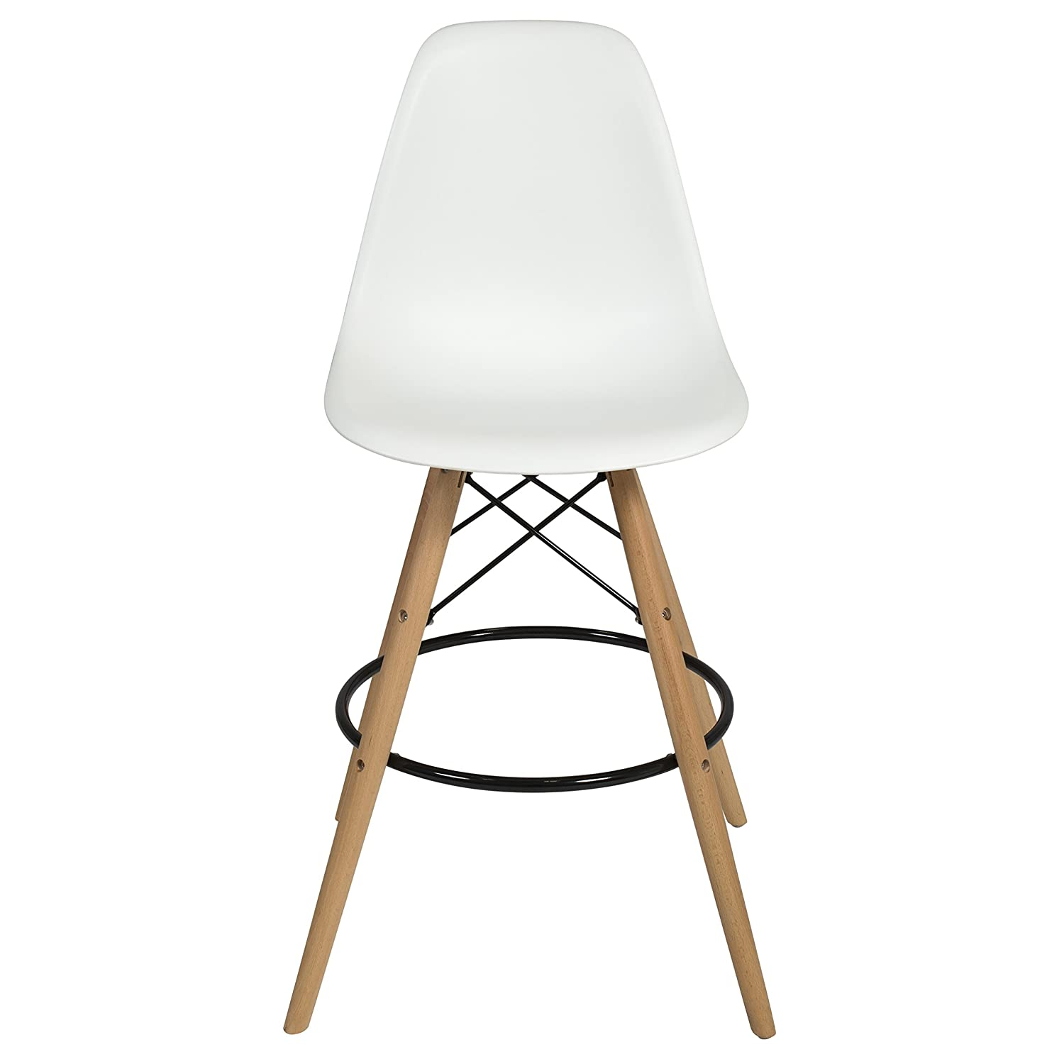 Superieur Amazon.com: Best Choice Products Set Of 2 Mid Century Modern Eames Style Counter  Stools W/ Wooden Legs, Footrests   White: Home U0026 Kitchen
