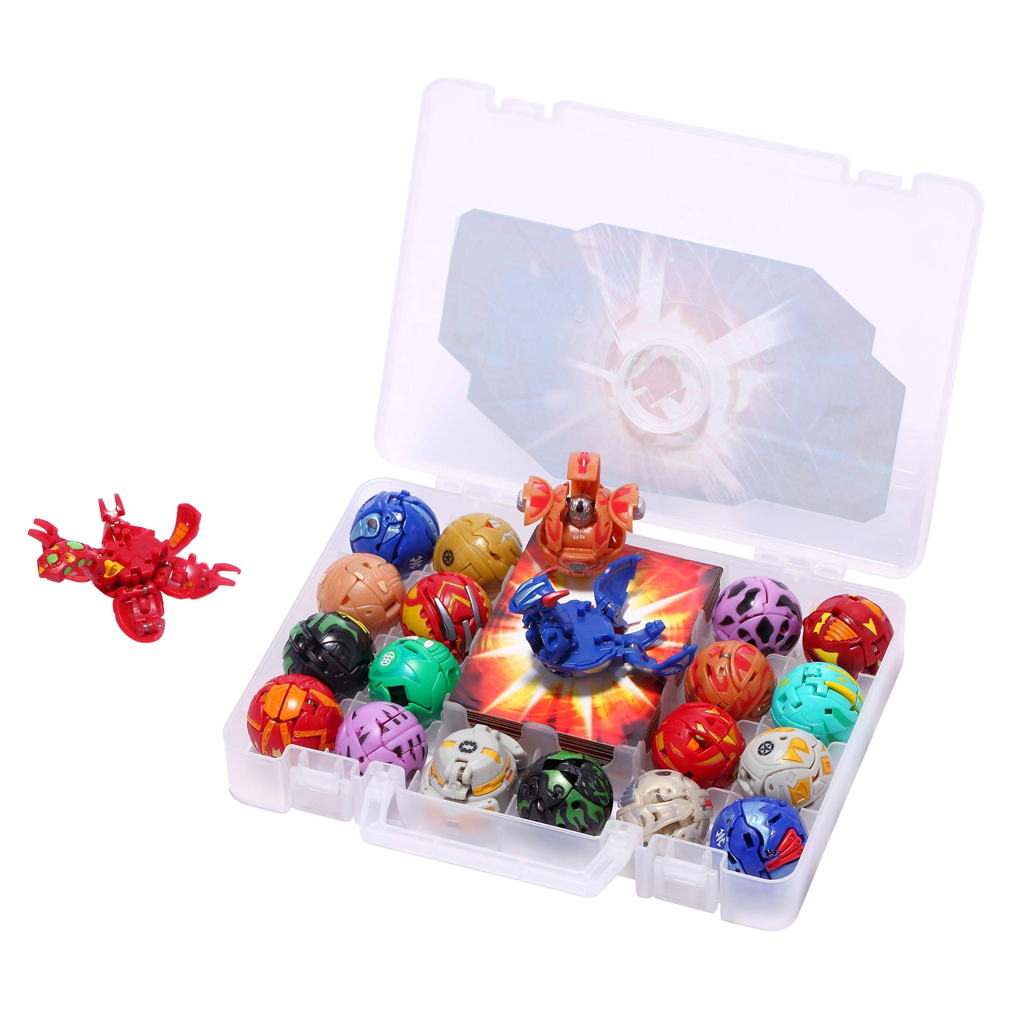 Battle Brawlers Bakugan Pack, 18 Bakugan All Different + 18 Metal Gate Card with Baku-Storage Case Great Toy Gift and Collection, for Ages 6 and Up (18-Pack)