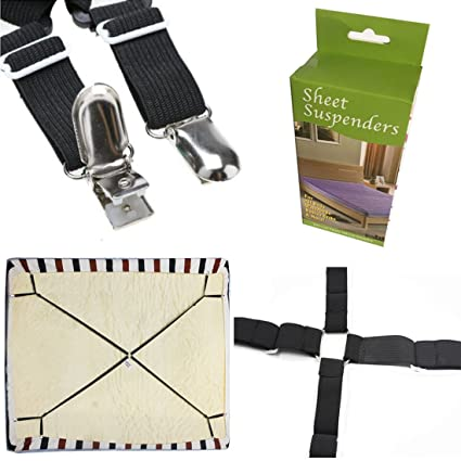 FlyingP Sheet Bed Suspenders Bed Bands Crisscross Adjustable Bed Fitted  Sheet Straps Suspenders Grippers Clippers Bed