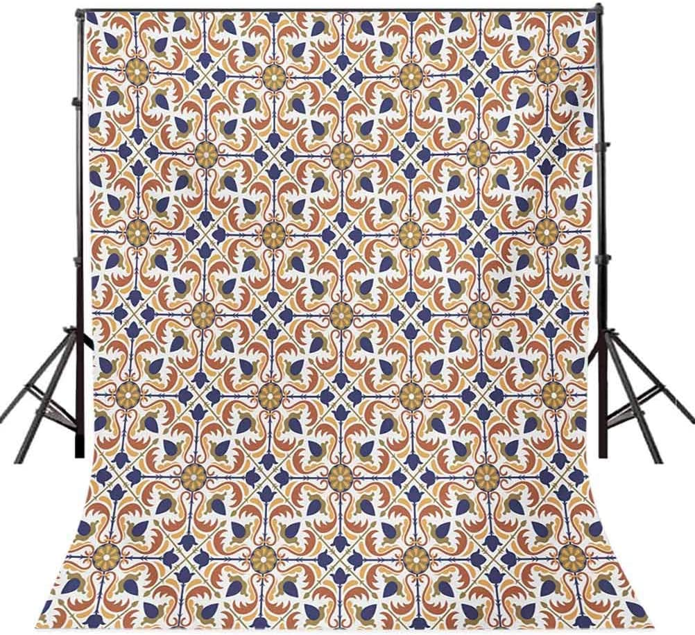 Moroccan 6.5x10 FT Photo Backdrops,Traditional Mosaic Tile Motif with Old Fashioned Floral Arabesque Scroll Design Background for Child Baby Shower Photo Vinyl Studio Prop Photobooth Photoshoot