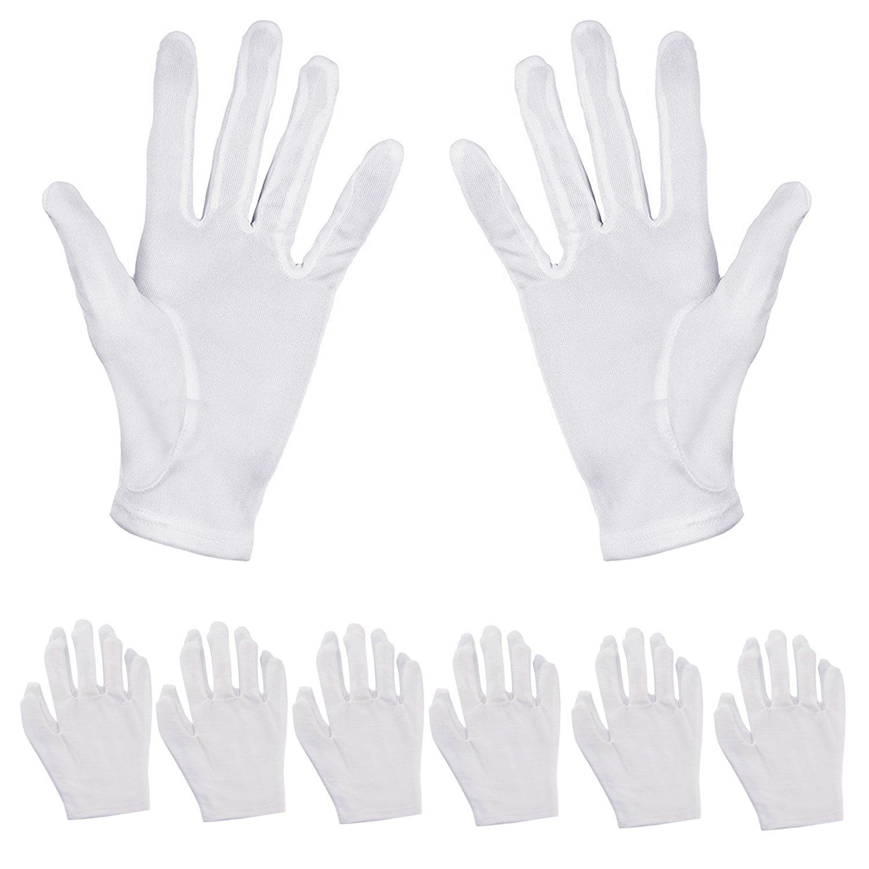 Aboat 6Pairs Cotton Gloves Moisturizing Gloves Hand Spa Gloves Cotton Cosmetic Moisturizing Gloves, White