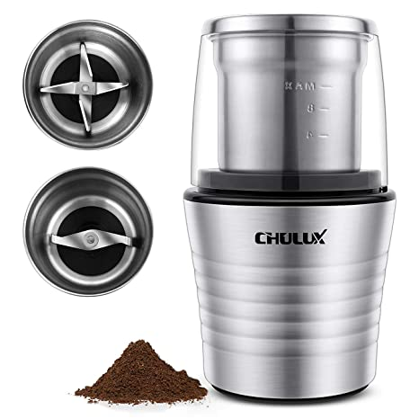 CHULUX Electric Spices and Coffee Grinder with 2 5 Ounce Two Detachable  Cups for Wet/Dry Food,Powerful Stainless Steel Blades and Cleaning Brush