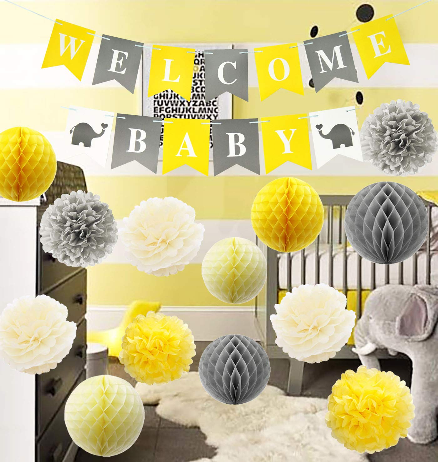 Furuix Yellow Grey Elephant Baby Shower Decorations Gray and Yellow Nursery Decor Honeycomb Balls Welcome Baby Banner Yellow and Gray Baby Shower Decorations - Gender Neutral Baby Decor by Furuix