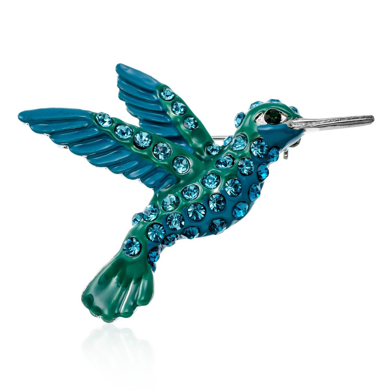 PammyJ Large Blue Green Crystal Hummingbird Brooch Pin