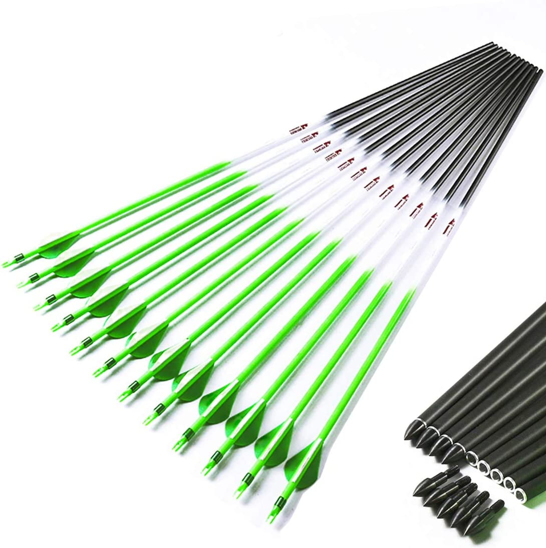"""12pcs 30/"""" 32/"""" Archery Pure Carbon Arrow Spine300//340//400//500//600 For Hunting Bow"""