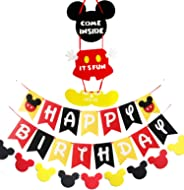 Mickey Inspired Mouse Party Supplies Banner Door Hanger Kit, Happy Birthday Banner Garland and Welcome Door Hanger Kit for Ki