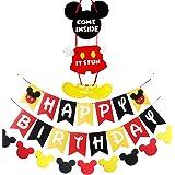 Mickey Inspired Mouse Party Supplies Banner Door Hanger Kit, Happy Birthday Banner Garland and Welcome Door Hanger Kit for Ki