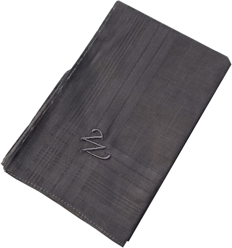 OWM Handkerchief Pack of 3 Cotton Embroidered Initial Monogram Handkerchief Men S, White