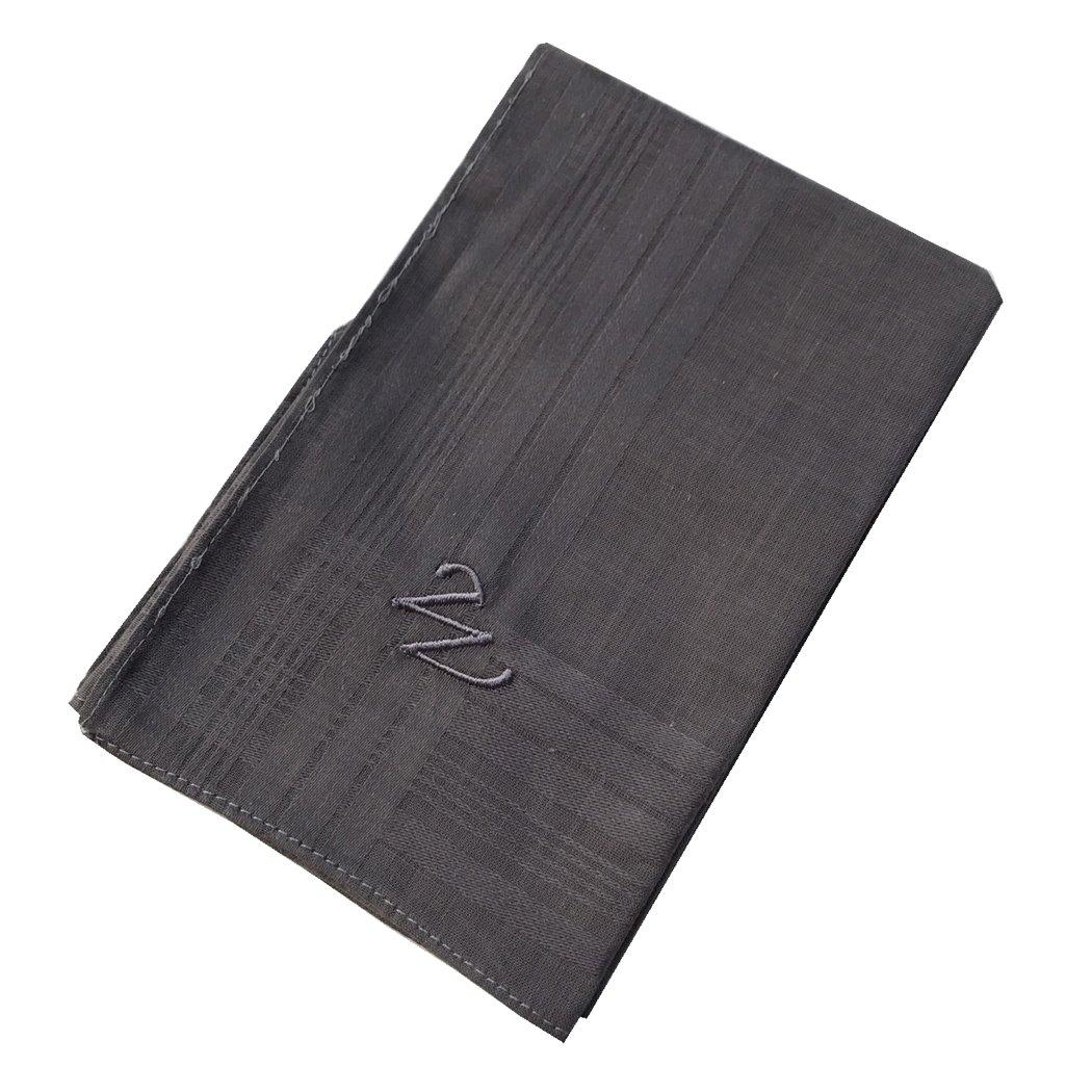 OWM Handkerchief Cotton Embroidered Custom Initial Monogram Handkerchief Men (W, Grey)