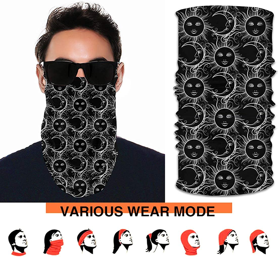 Unisex Neck Gaiter Shield Face Scarf Earloops Bandana Seamless UV Protection for Motorcycle Cycling Riding Running Headbands