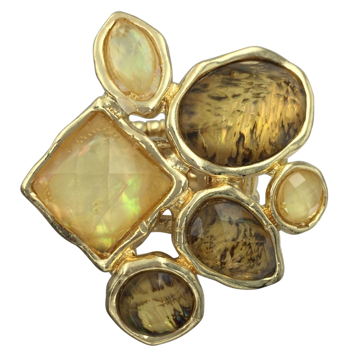 Large Abstract Foil Stones Statement Stretch Cocktail Ring Gypsy Jewels
