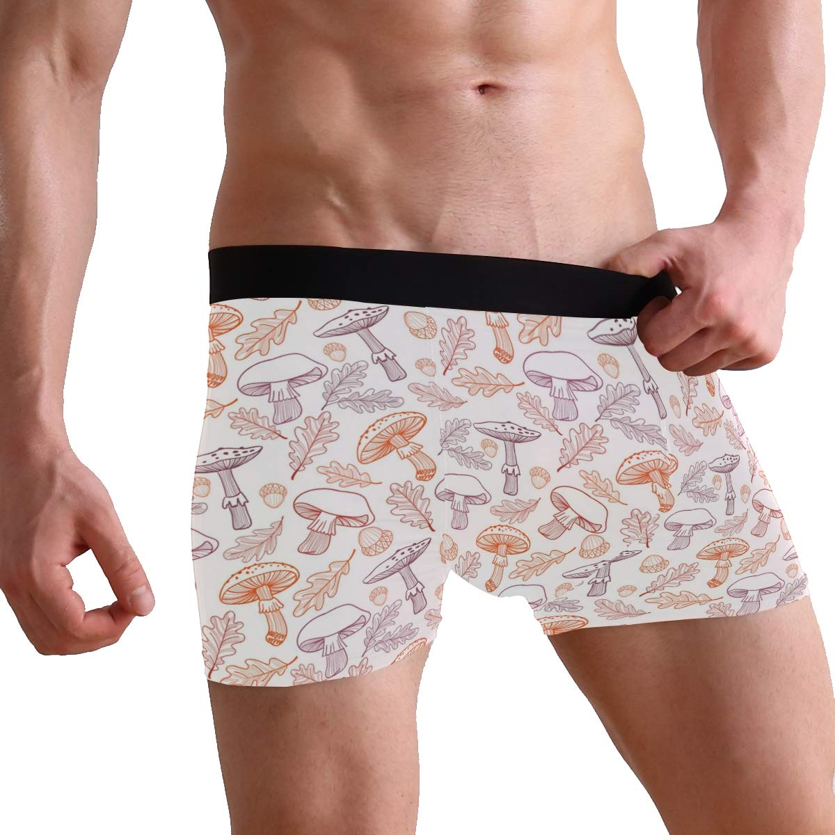 Mens Soft Breathable Mushrooms Fly Agarics Acorns Underwear Boxer Briefs