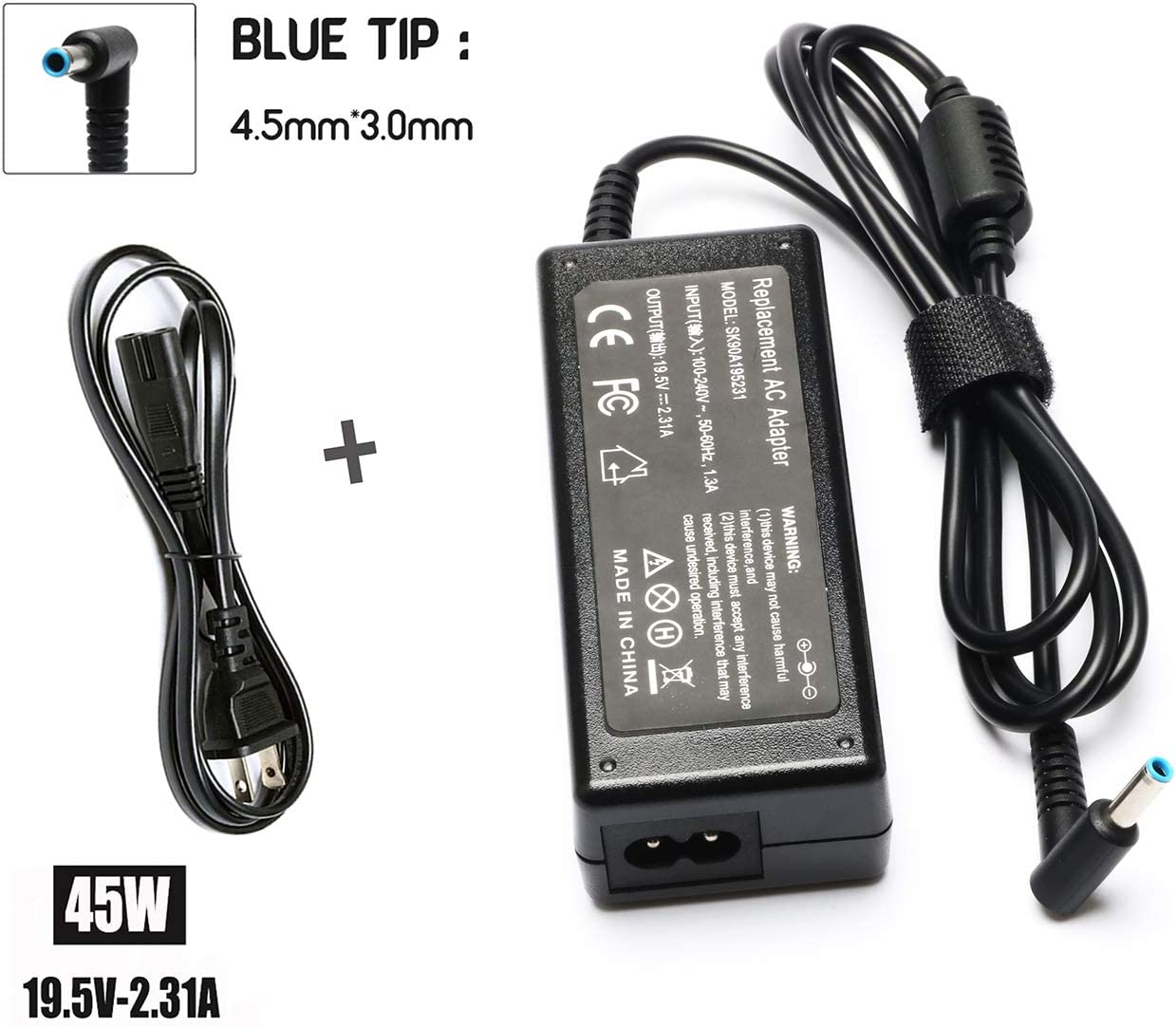19V 2.31A 45W Ac Adapter/Power Cord Supply for Hp Stream 11 13 14; Hp Pavilion X2 11 13 15; P/N: 719309-001 719309-003 721092-001 741727-001 740015-001 HSTNN-CA40 ADP-45WD B