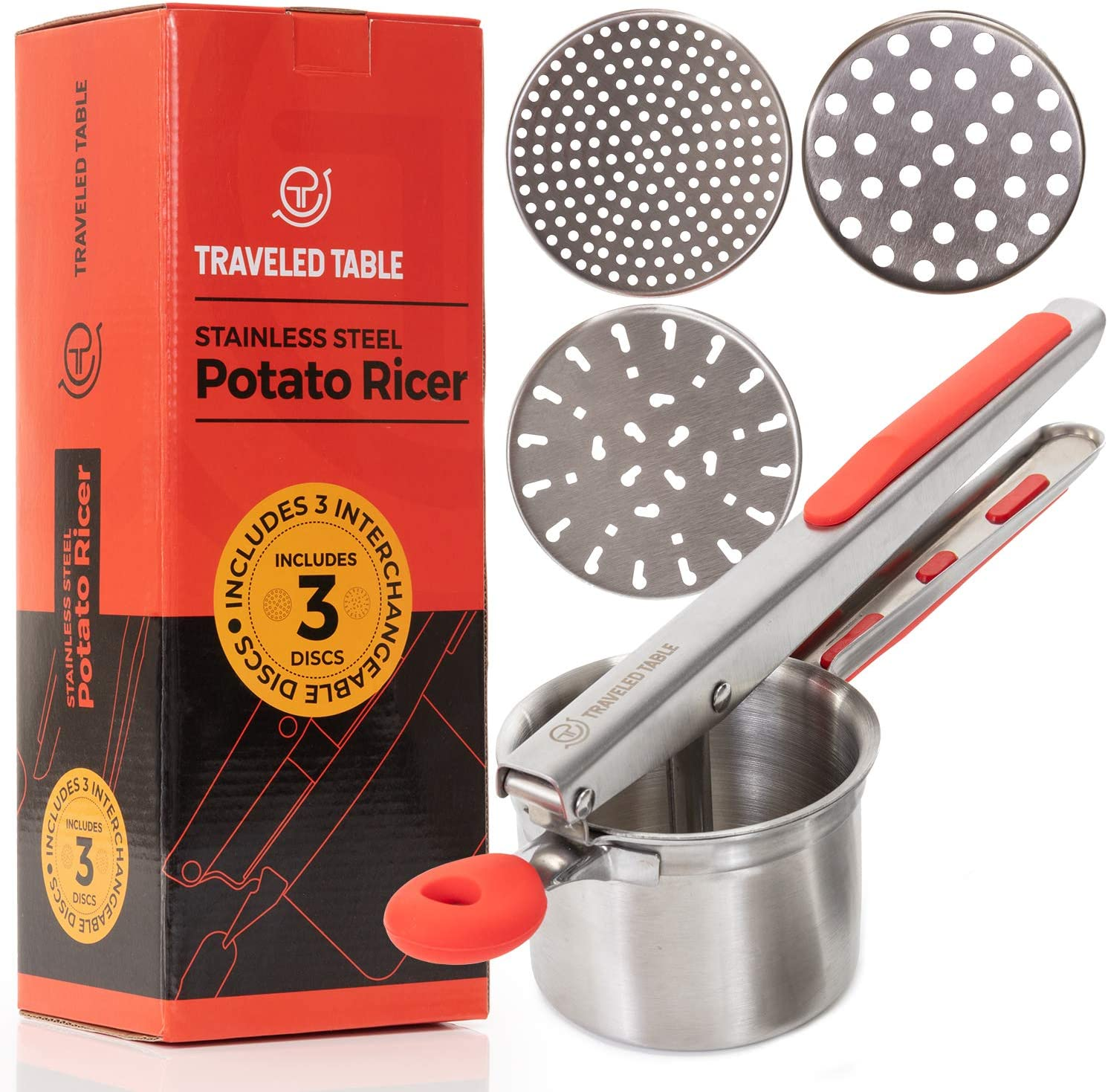 Potato Ricer - Stainless Steel Press for Mashed Potatoes - Best Kitchen Tool for Perfect Mashed Potato, Spaetzle, Cauliflower and Handmade Baby Food