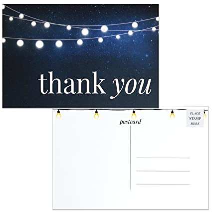 Thank You Postcards Modern Navy Blue String Lights