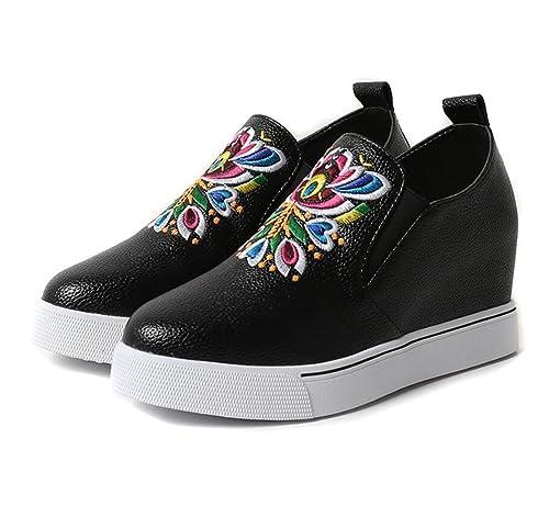 Zapatos de Mujer Mocasines Punta Redonda Bordado Tótem Creativo Zapatos Étnicos Tacones de Cuña Ocultos Zapatos