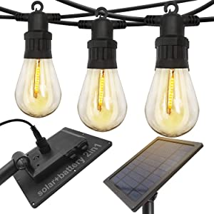 ASENEK Outdoor Solar String Lights, Waterproof 15 LED String Lights, 32.8ft Solar and Battery Operated Lights with Install Accessories, Hanging Patio Lights for Patio, Backyard, Garden ( Warm White)