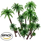Hatisan-Pro 20Pcs Coconut Palm Model Trees/Scenery Model - Plastic Artificial Layout Rainforest Diorama, Building Model Trees Cake Topper, Model Train Railways Architecture Landscape by