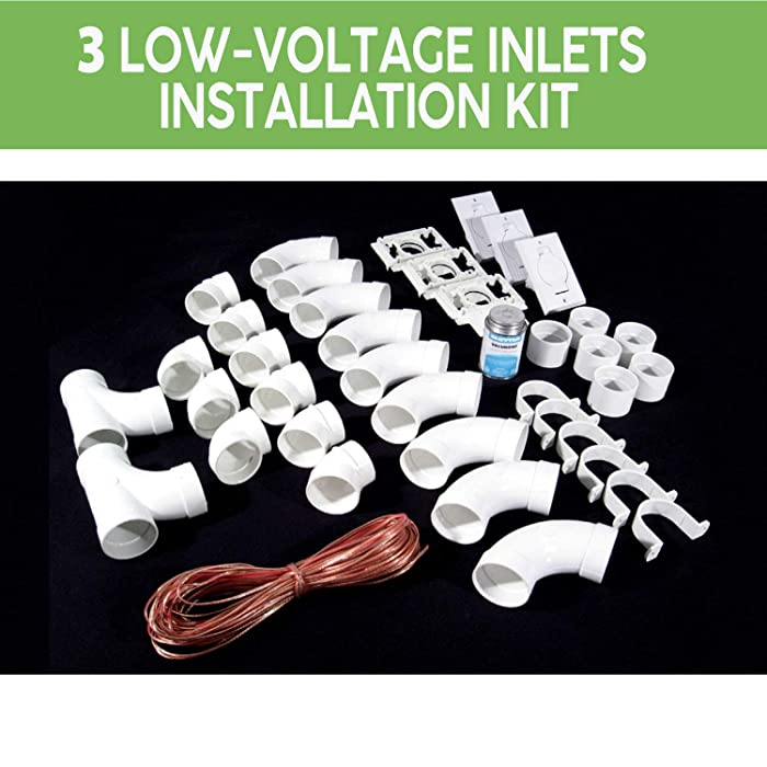 OVO Complete Set of Fittings for Central Vacuum Installation with 3 Low-Voltage inlets (Excluding Pipes), White