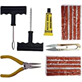 Jagger Complete Tubeless Tyre Puncture Repair Kit (Nose Pliers + Cutter + Rubber Cement + Extra Strips)