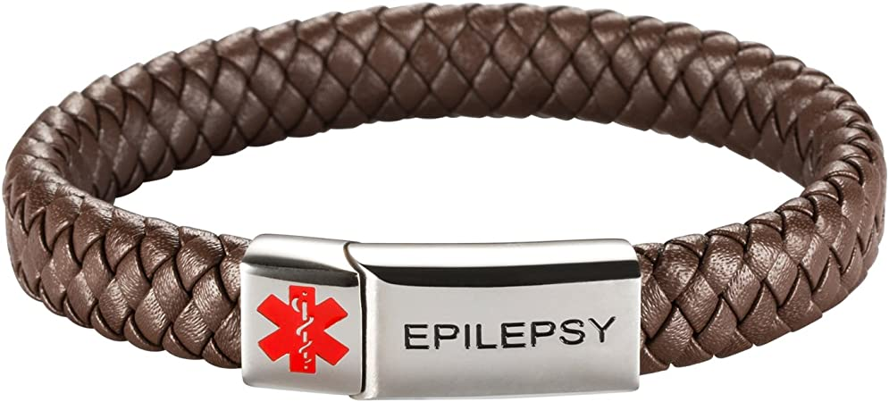Vintage Brown Medical Alert ID Bracelet with Soft Leather Personalised 16 17 18 19 20 21 22 23 24cm Any Engraving on Front and Back