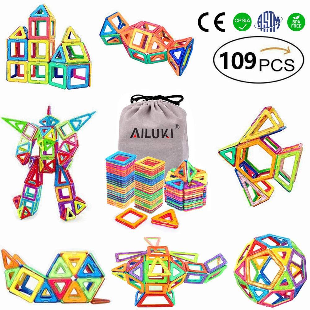 磁気ブロック、ailuki 119ピースMagnetic Building Blocksセット磁気タイルStacking Blocks for子供教育とクリエイティブ想像力開発   B072V77BR3