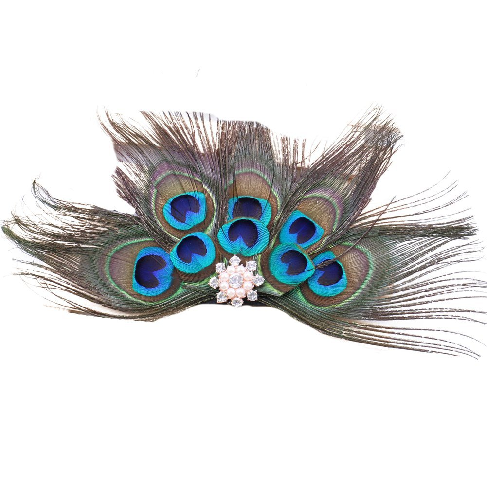 ACTLATI Retro Peacock Feather Rhinestone Fascinator Hair Clip Party Hairpin Roaring 20s Headpiece