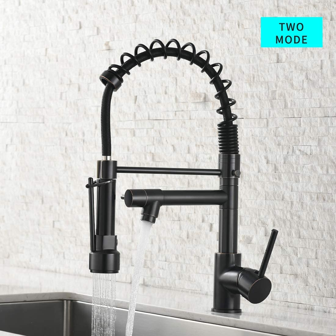 Spring Commercial Kitchen Sink Faucet Modern Single Handle Oil Rubbed Bronze Kitchen Faucets With Pull Down Sprayer Amazon Com