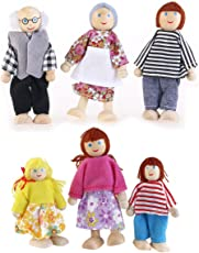 6pcs Puppet Toys Wooden Cartoon Family Dolls for Children Play House Gift