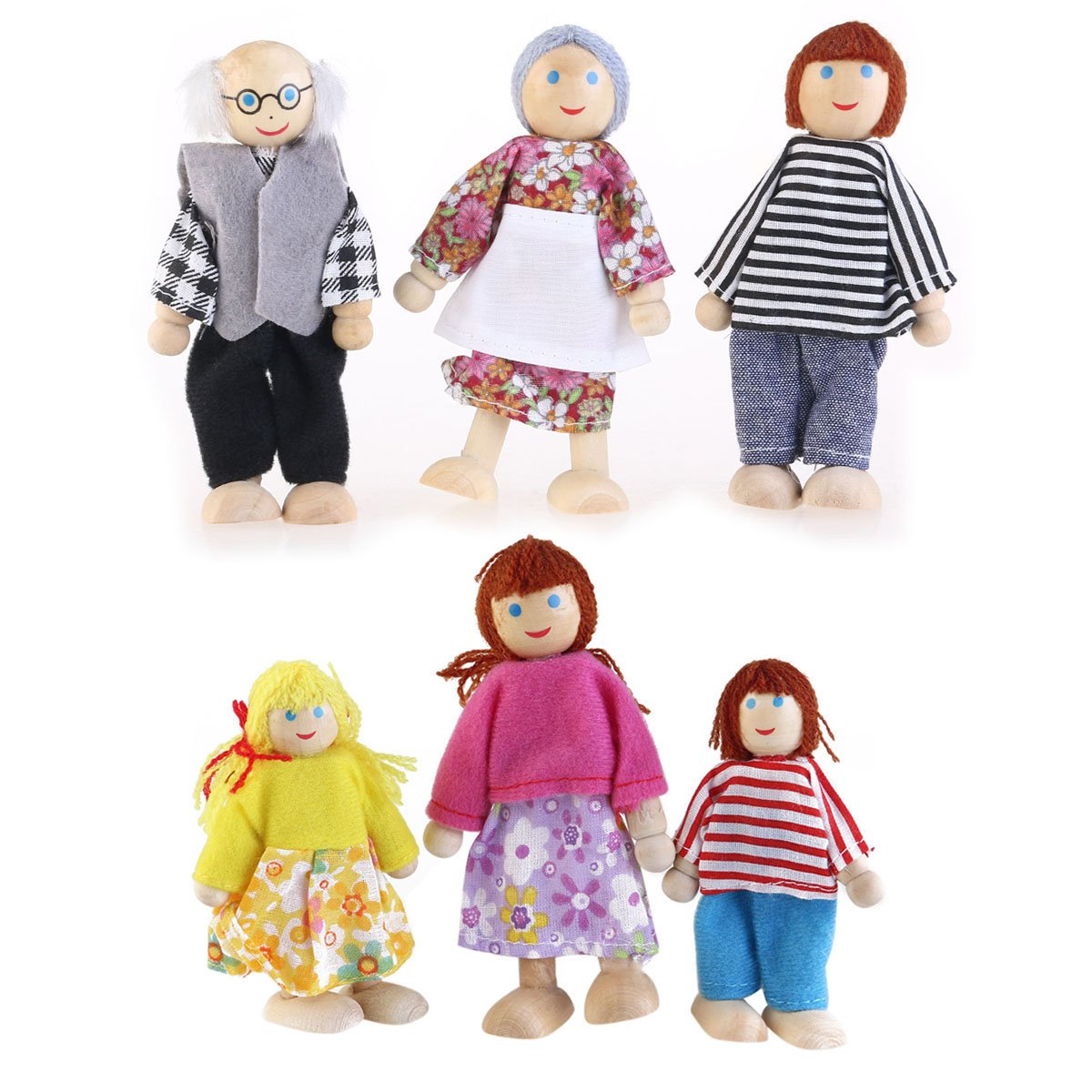 Tinksky Happy Doll Family Wooden Joint Puppet Maumet Including Grandparents for Kids Fun Role Playing Pack of 6 Birthday Gift for your lovely son or daughter
