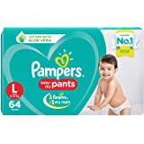 Pampers New Diapers Pants with Aloe Vera, Large (64 Count)
