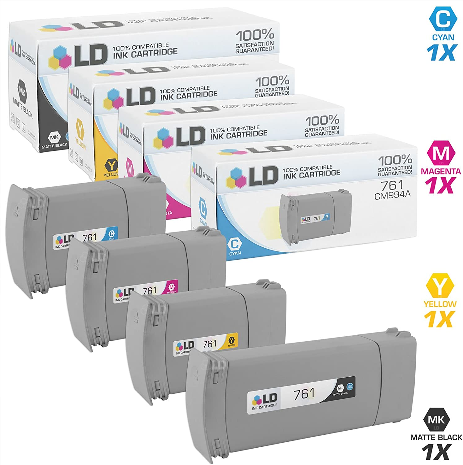 LD Remanufactured Ink Cartridge Replacement for HP 761 Extra High Yield (Matte Black, Cyan, Magenta, Yellow, 4-Pack)