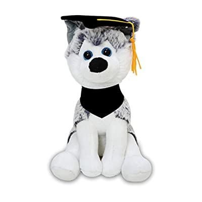 Plushland Cuddly Dog Toy, Customize Each Dog with Your School Logo on Its Black Bandanna, for Graduation Day (Graduation Husky): Toys & Games
