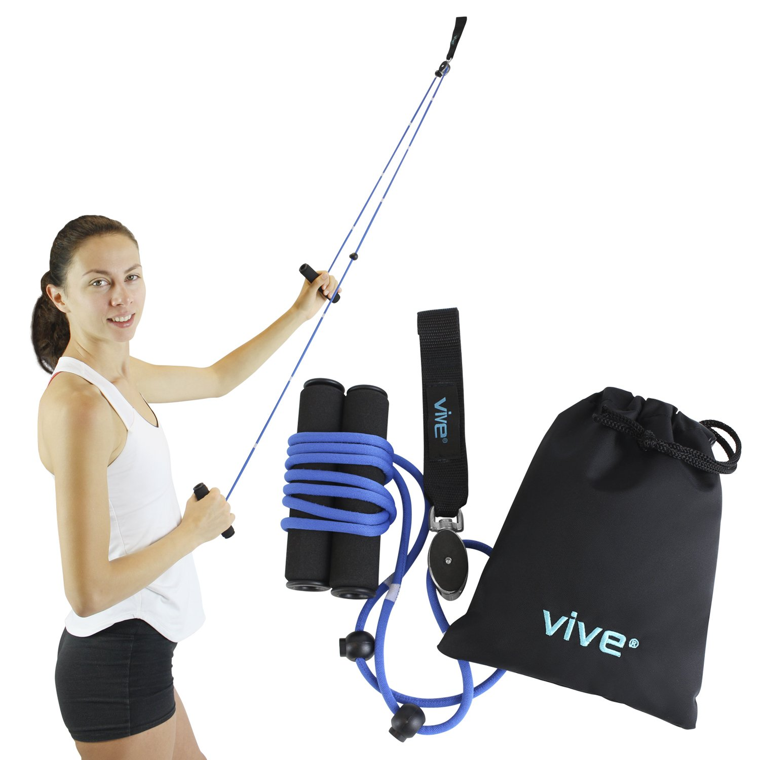 Shoulder Pulley by Vive - Over Door Rehab Exerciser for Rotator Cuff - Home Cable Arm Rehabilitation Exercise System for Frozen Shoulder, Physical Therapy, Flexibility, Range of Motion and Stretching