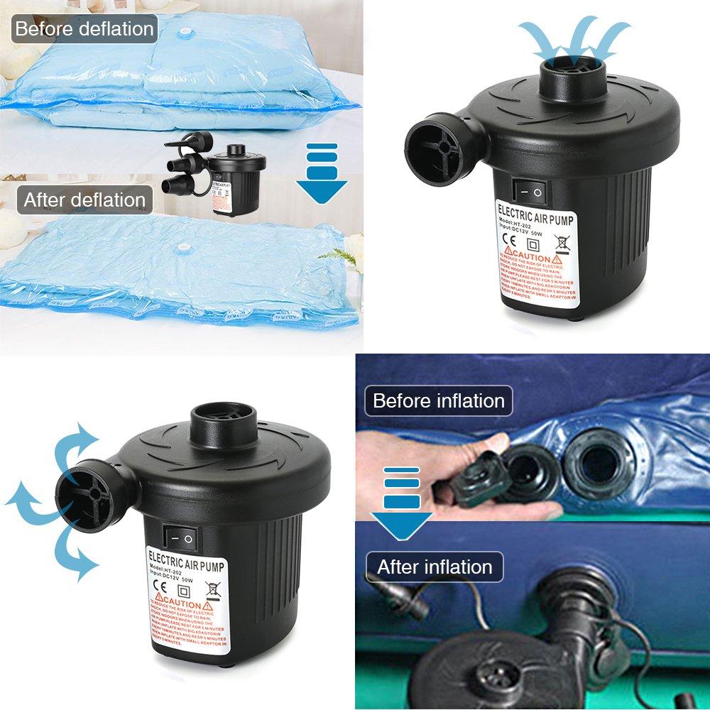 AxeBon Elektrische Luftpumpe Planschbecken Schlauchboote Aufbl/ähungen und Deflates Mobile Kompressoren Luftpumpen f/ür Home Camping Luftmatratzen