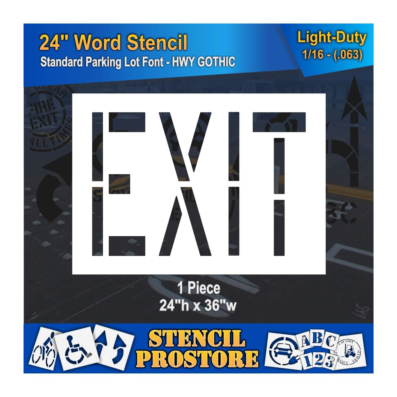 Pavement Marking Stencils - 24 inch EXIT Stencil - 24'' x 36'' x 1/16'' (63 mil) - Light-Duty